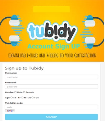 Tubidy Account Sign Up